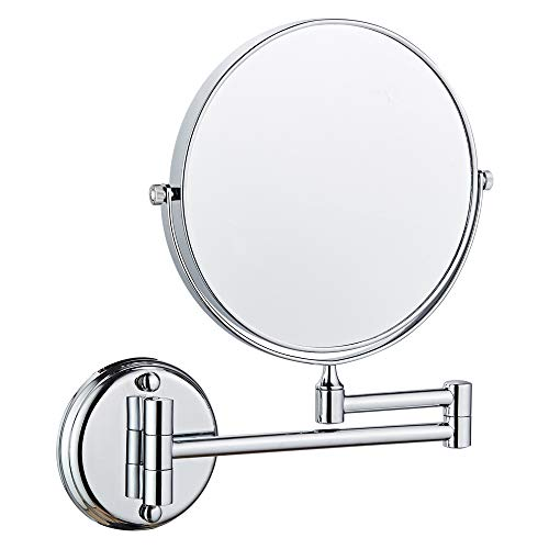 Long Leaf Wall Mount Makeup Mirror, 7X Magnifying Two Side Vanity Extendable -