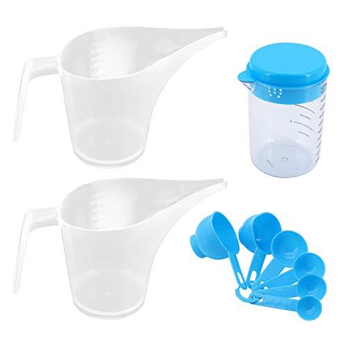 Jarras grandes con embudo,plástico de 1 L jarra de boca larga puntiaguda, taza de laboratorio de boca de punta,taza de medición de boquilla larga,jarra de masa de panqueques,hacer jabón de velas