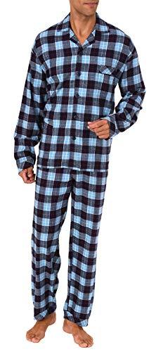 Herren Flanell Pyjama Schlafanzug zum durchknöpfen - auch in Übergrössen 281 101...