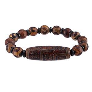 Prime-Feng-Shui-Armband mit 3 Augen und 9 Augen, Dzi-Perlen, tibetisches Dzi-Amulett-Armband zieht positive Energie und Glück an.