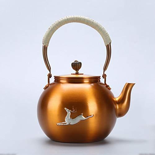 Tea Kettle 1500ml Small Vintage Teapot Home Tea Pot for Loose Leaf Tea Copper Heat Resistant Tea Maker for Office Party
