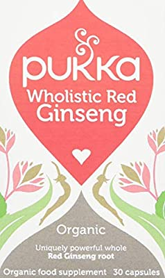 Pukka Herbs Organic Wholistic Red Ginseng Capsules, Pack of 30 by Pukka Herbs