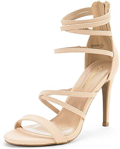 DREAM PAIRS Women's Show Nude Nubuck High Heel Dress Pump Sandals - 9 M US