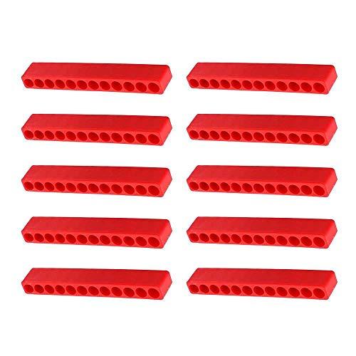 10 brocas rojas de almacenamiento de 12 agujeros, destornillador hexagonal mango broca de almacenamiento coche