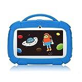 Tableta Padgene para niños 7 Pulgadas, Tableta Android 9.0 para niños, Tableta de Aprendizaje con Modo de Bloqueo para niños, Pantalla táctil IPS, WiFi de Doble cámara, Funda de Silicona (Azul)