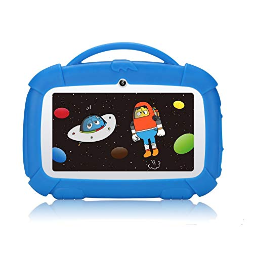 Tableta Padgene para niños 7 Pulgadas, Tableta Android 9.0 para niños, Tableta de Aprendizaje con Modo de Bloqueo para niños, Pantalla táctil IPS, WiFi de Doble cámara, Funda de Silicona (Azul