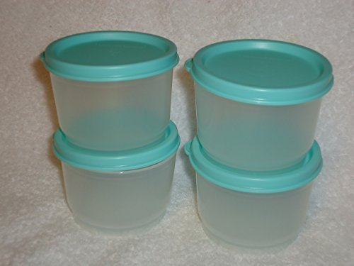 Tupperware Snack Cup 4 Oz Set of 4 with Mint Green Seals