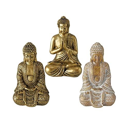 Juego de 3 figuras de Buda sentadas, 10 cm de altura, resina...