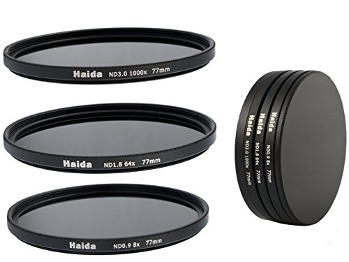 HAIDA Neutral Graufilter Set bestehend aus ND8, ND64, ND1000 Filtern 77mm inkl. Stack Cap Filtercontainer + Pro Lens Cap mit Innengriff