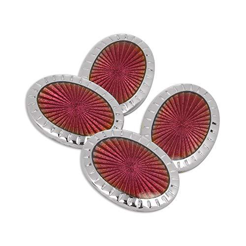 Boutons de Manchette Ovales Rosés en Argent 925/1000 et Email - A chaînette