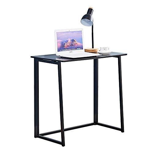 JIADUOBAO Escritorio de computadora de escritura, moderno y simple, de estilo industrial, plegable, mesa para ordenador portátil, para oficina en casa, escritorio negro