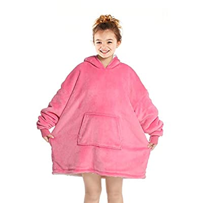 Touchat Wearable Blanket Hoodie, Oversized Sherpa Blanket Sweatshirt with Hood Pocket and Sleeves, Super Soft Warm Comfy Plush Hooded Blanket for Kids and Girls, One Size Fits All (Pink)