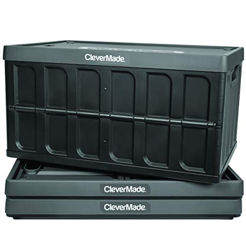 CleverMade 62L Collapsible Storage Bins with Lids - Folding Plastic Stackable Utility Crates, Solid Wall CleverCrates, 3 Pack, Charcoal (8034119-1533PK)