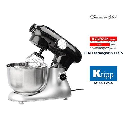 Rosenstein & Söhne Knetmaschine: Küchenmaschine KM-6618 im Retro-Design, 1200 Watt (Knetmaschine Retro)