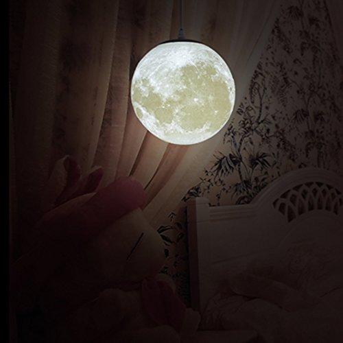 Mqforu, Lampadario a sospensione a forma di luna, con stampa 3D, per camera da letto, camera dei bambini, balcone, dimensioni: 20, 25,5, 30,5, 35,5, 45,7 cm, 10in