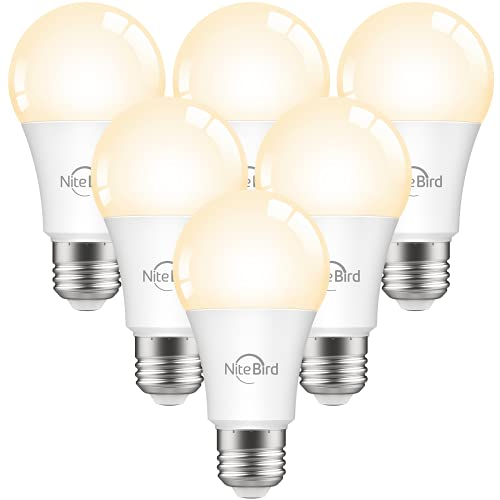 Smart Light Bulbs, Nitebird LED Bulb Works with Alexa and Google Home, WiFi Dimmable 2700K Warm White 800 Lumens Light Bulbs, A19 E26 75W Equivalent, 2.4GHz WiFi Only, No Hub Required, 6 Pack
