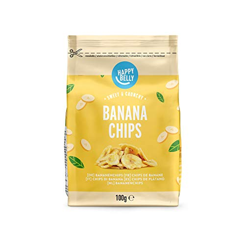 Marca Amazon - Happy Belly Chips de plátano, 7 x 100gr