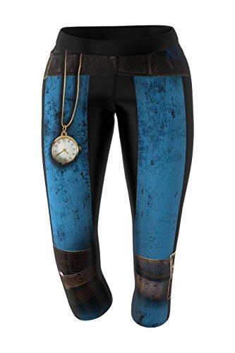 SMMASH Steampunk Leggings 3/4 für Crossfit, Gym Hose, Outdoor, Sporthose für Yoga, Laufhose, Atmungsaktiv Trainingshose, Fitnesshose Blickdichte, Jogginghose, Hergestellt in der EU (M)