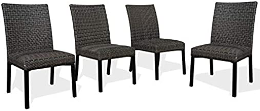 Patio Rattan Wicker Dining Chairs Indoor Outdoor Woven Padded Chairs (Set of 4)