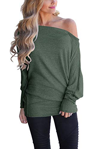 LACOZY Women's Sexy Off Shoulder Tops Long Sleeve Loose Oversized Pullover Sweater Knit Jumper Green Medium
