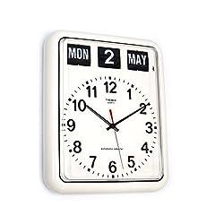 twemco Homeloo German Quartz Retro Modern Calendar Wall Flip Clock BQ12A (white)