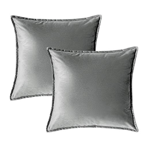 Bedsure Velvet Cushion Cover 2 Pack Grey Decorative Pillowcases for Sofa and Couch, 45cm x 45cm (18in x 18in)