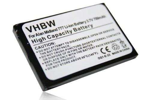 vhbw Batteria Li-ion per ALAN 777, Midland 777, PMR446, PMR446+, me-Trading FS-2 sostituisce FB-777 700mAh 3.7V