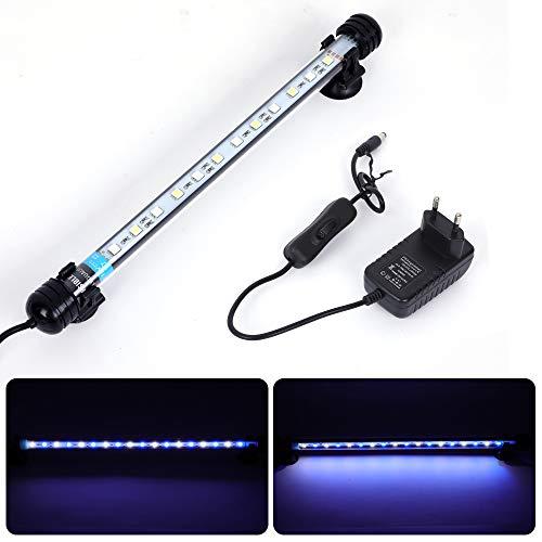 MLJ Acuario LED Iluminación, Iluminación LED para Acuarios Plantados Lámpara LED para Peceras Resistente al Agua Luz para (Deutschland Lagerhaus) (28cm, Blanco y Azul)