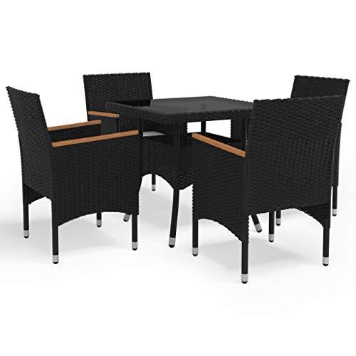 vidaXL Muebles de Jardín 5 Piezas Mobiliario Exterior Hogar Cocina Terraza Mesa Silla Asiento Suave Respaldo Cojines Ratán Sintético Negro y Acacia