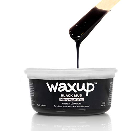 waxup Microwave Hard Wax Kit, Black Mud 7 Ounces Pot, 8 L 8 M Wax Sticks, at Home Waxing Kit, Hot Wax Hair Removal for Women And Men Body, Face, Eyebrow, Nose, Ears, Upper Lip, Legs. No-Strip Wax.