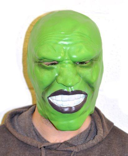 The Rubber Plantation TM 5060077800007Jim Carrey stile verde scuro in lattice maschera travestimento di Halloween di Loki, unisex, taglia unica
