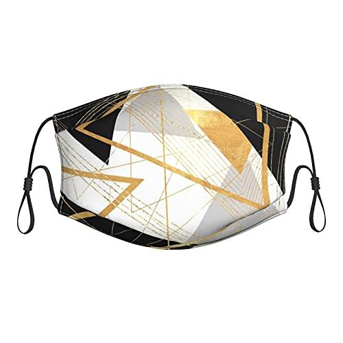 Lesif Mascarilla de tela geométrica negra y dorada M-Ask cómoda lavable reutilizable...