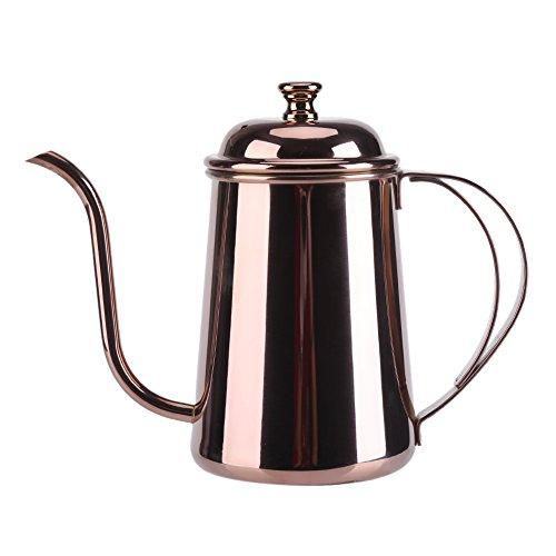 650ML De acero inoxidable precisas Gooseneck goteo de la tetera verter sobre el café de té Inicio Brewing goteo Olla(Gold)