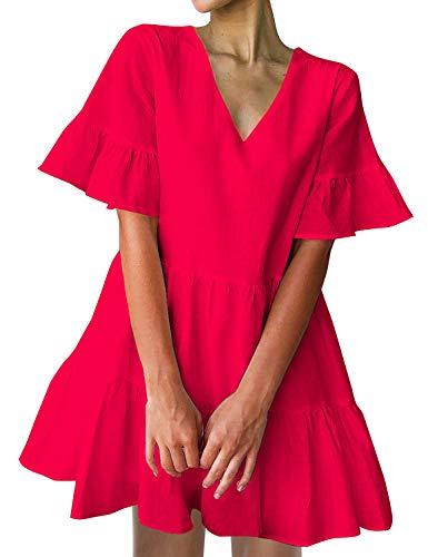 FANCYINN Women's Red Cute Shift Tunic Dress Short Bell Sleeve V Neck Causal Swing Red Ruffle Mini Dress with Pockets M
