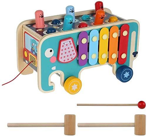 Bck Creativo elefante look hamster juego percusión niños juguetes educación cerebro juego temprano madera tractor forma color reconocimiento práctico entrenamiento temprano infancia desarrollo y activ