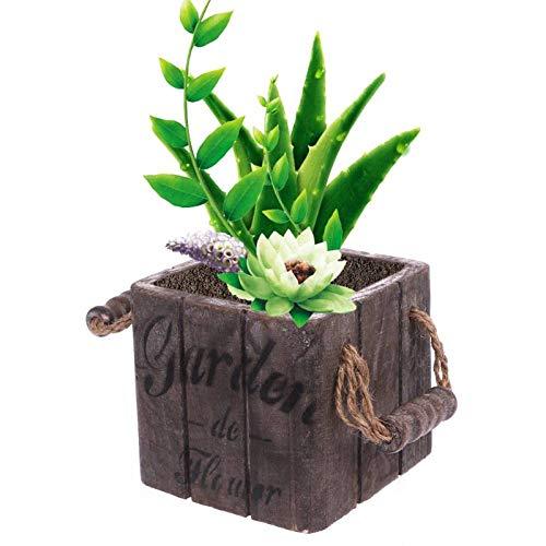 ZYZED bloempot Tuin Plant Pot Vintage Houten bloempot Mand Vleesachtig Vetplanten Doos Rechthoek bloempot Chocolade