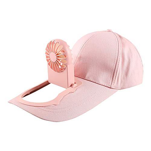 Yue668 - Sombrero de sol con visera, ajustable, unisex, USB, carga solar, béisbol, golf, sombrero, almacenamiento cinturón interruptor ventilador, capucha rosa L/XL