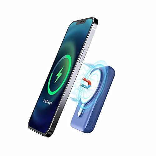 Magnetische 15W Wireless Power Bank 10000mAh, tragbares JIGA PD 20W Ladegerät,Geeignet für iPhone12 / 12Pro / 12 Mini / 12Pro / Max (Blau)