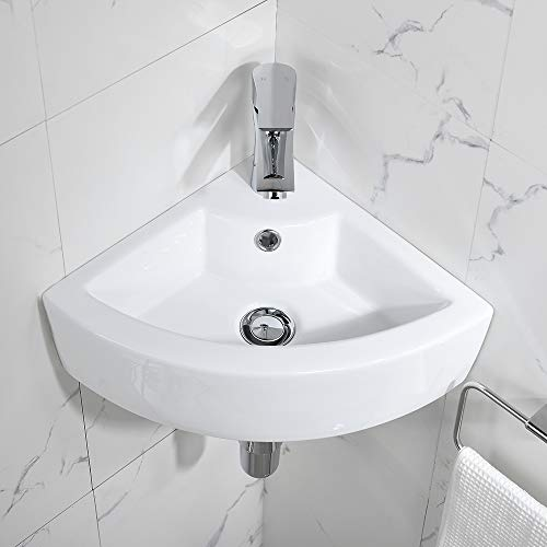 Bokaiya Small Corner Wall Mount Vessel Sink and Faucet Combo White Porcelain Ceramic Above Counter Mini Vanity Sink with Chrome Faucet and Pop-up Drain with Overflow