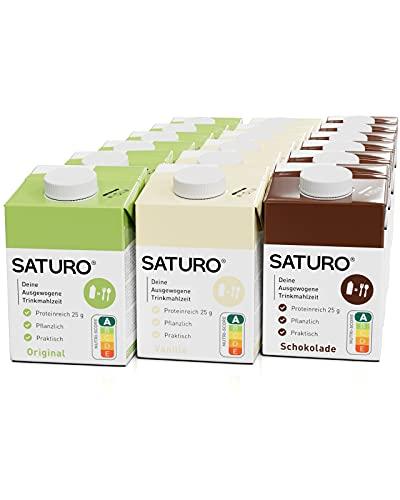 SATURO® Trinkmahlzeit Probierpaket (Schokolade, Vanille, Original) | Astronautennahrung Mit Protein & 500kcal | Vegane Trinknahrung Mit Wertvollen Nährstoffen | 18 x 500 ml