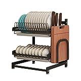 Organizador de acero inoxidable negro de 2 niveles para secar platos, frutas y...