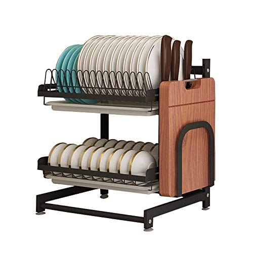 Organizador de acero inoxidable negro de 2 niveles para secar platos, frutas y verduras, cesta de almacenamiento con escurridor y 3 ganchos para colgar utensilios de cocina