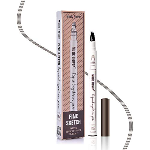 Augenbrauenstift Wasserfest - Waterproof Microblading Eyebrow Pen mit Tips Wasserfester Langenhaltend für Natürlich Augenbrauen Schminke (Braun)