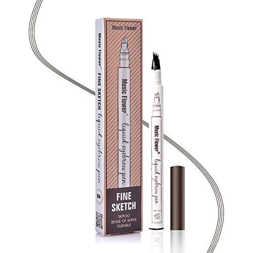 Augenbrauenstift Wasserfest - Waterproof Microblading Eyebrow Pen mit Tips Wasserfester Langenhaltend für Natürlich Augenbrauen Schminke (Braun)