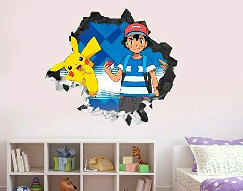 SJXWOL Pokemon Freunde Ash Pikachu Wandtattoo Dekor zerschlagen 3D Sticker Art VinylGS151 55x60cm