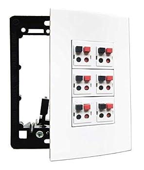 diyTech Premium Speaker Wall Plate 6 Speaker Supports 6 Speaker Configurations w/Mounting Bracket 1 Gang Screwless - White