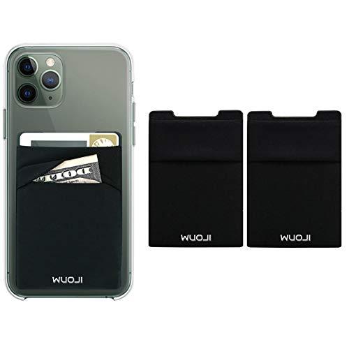 WUOJI Double Pocket Phone Wallet - Klebekartenhalter - Handy Etui mit RFID-Kartenhalter -Kreditkarten und Bargeld tragen - Schwarz-Black/2PC