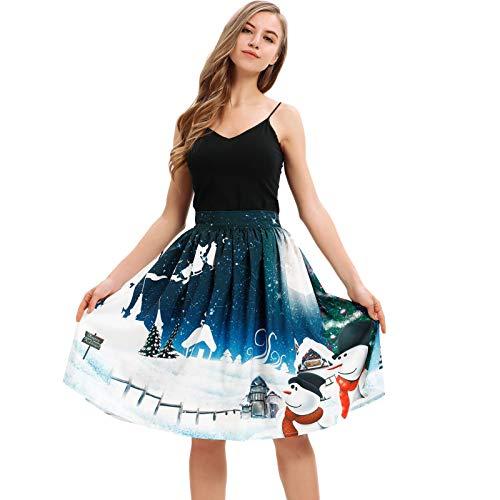 NPRADLA Frauen-Weihnachtsrock Santa Flare Elastic High Waist Plissee Swing Cosplay Knielange Mädchen-Ballkleid-Röcke(M,Blau-1)
