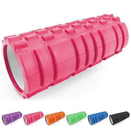 i-Found Rodillo de espuma muscular – Masajeador de tejido profundo de densidad media para masaje muscular y liberación de punto de disparador miofascial para (33 x 14 cm rosa)