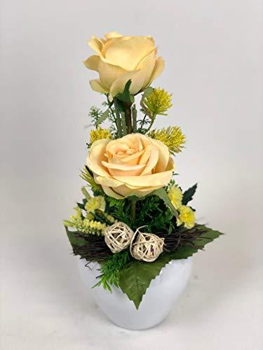 Ziegler Blumengesteck Rosengesteck Gesteck künstlich Kunstblumen Kunst Blume Dekoblume Seidenblume unecht Tischgesteck Tischdeko Rosen Rose gelb 112 F71